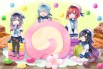 4girls ^_^ ^o^ ahoge aqua_hair beret black_hair black_legwear blue_eyes braid cake closed_eyes commentary_request cookie etorofu_(kantai_collection) flower food gloves gradient_hair green_eyes grey_eyes grey_hair hair_ornament hairpin hat kantai_collection kneehighs long_hair macaron matsuwa_(kantai_collection) multicolored_hair multiple_girls pleated_skirt redhead sado_(kantai_collection) school_uniform serafuku shoes sitting skirt swiss_roll thigh-highs tsushima_(kantai_collection) twin_braids wariza white_gloves white_legwear x_hair_ornament yunamaro zettai_ryouiki