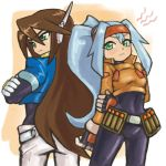 1boy 1girl angry ashe_(rockman) back-to-back bangs belt blush bodystocking brown_hair capcom cropped_jacket crossed_arms drill_(emilio) green_eyes hair_between_eyes headband high_ponytail inti_creates legs_apart long_hair looking_to_the_side pants ponytail rockman rockman_zx rockman_zx_advent standing turning_head vent