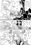 3girls bare_shoulders bow chacha_(fate/grand_order) closed_eyes comic fate/grand_order fate_(series) greyscale hair_bow hairband long_hair long_sleeves looking_at_another lying monochrome multiple_girls no_hat no_headwear oda_nobunaga_(fate) okita_souji_(fate) on_side open_mouth skull sweat translation_request unya