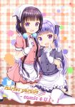 2girls :d apron bangs black_footwear blend_s blunt_bangs blush collared_shirt commentary_request company_connection cosplay crossover eyebrows_visible_through_hair frilled_apron frills hair_ornament head_scarf highres index_finger_raised kneeling long_hair looking_at_viewer low_twintails manga_time_kirara multiple_girls new_game! open_mouth pink_shirt pink_skirt plaid plaid_background pleated_skirt puffy_short_sleeves puffy_sleeves purple_hair purple_shirt purple_skirt sakuranomiya_maika shirt shoes short_sleeves skirt smile stile_uniform suzukaze_aoba thigh-highs twintails uniform very_long_hair violet_eyes waist_apron waitress white_apron white_legwear zenon_(for_achieve)