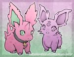border claws collar commentary commission creature english_commentary full_body gen_1_pokemon gradient gradient_background gradient_border green_eyes heart looking_at_viewer mikoto-tsuki nidoran no_humans pokemon pokemon_(creature) standing violet_eyes watermark web_address