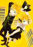 1boy 1girl blue_eyes controller game_console game_controller hand_holding kagamine_len kagamine_rin nail_polish project_diva_(series) project_diva_f reciever_(module) remote_control rimocon_(vocaloid) sega_dreamcast shoes short_hair short_ponytail simple_background transmitter_(module) vocaloid yellow_background yellow_nails