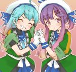 2girls blonde_hair blue_hair blue_neckwear blue_skirt closed_eyes cocoperino commentary_request cowboy_shot gloves gradient_hair hand_holding happi hat japanese_clothes kantai_collection long_hair looking_at_viewer multicolored_hair multiple_girls neckerchief orange_hair pleated_skirt purple_hair sado_(kantai_collection) sailor_hat school_uniform serafuku shirt short_hair sidelocks skirt sleeveless sleeveless_shirt tsushima_(kantai_collection) undershirt violet_eyes white_gloves white_hat