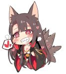 1girl akagi_(azur_lane) animal_ears azur_lane blush breasts brown_hair chibi cleavage commentary_request drooling fox_ears fox_tail grin heart heart-shaped_pupils highres long_sleeves medium_breasts obi red_eyes sash sharp_teeth simple_background smile solo spoken_heart symbol-shaped_pupils tail teeth tuxedo_de_cat white_background wide_sleeves