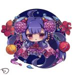 1girl :< absurdly_long_hair aerial_fireworks ahoge animal bangs barefoot blue_dress blue_hair blush chibi commentary_request dress eyebrows_visible_through_hair fireworks fish floral_print flower goldfish hair_flower hair_ornament holding long_hair long_sleeves looking_at_viewer muuran night night_sky noa_(shironeko_project) parted_lips purple_flower shironeko_project signature simple_background sky solo star_(sky) starry_sky triangle_mouth very_long_hair violet_eyes water_drop water_yoyo white_background wide_sleeves