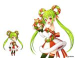 1girl :d aki_no_jikan arms_at_sides bare_shoulders bell bow earrings elf green_hair green_legwear hair_rings jewelry long_hair looking_at_viewer maru-kichi multiple_views official_art open_mouth pointy_ears red_bow red_eyes skirt smile standing striped striped_bow striped_skirt thigh-highs twintails watermark wreath