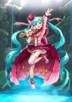 1girl :d absurdres arm_up armpits blue_hair detached_sleeves earrings floating_hair flower frilled full_body garter_straps hair_flower hair_ornament hatsune_miku high_heels highres holding holding_microphone jewelry layered_skirt long_hair mayo_riyo microphone one_leg_raised open_mouth pink_footwear red_eyes red_flower shoes smile solo standing standing_on_one_leg striped striped_legwear thigh-highs twintails vertical-striped_legwear vertical_stripes very_long_hair vocaloid zettai_ryouiki