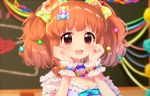 1girl :3 blush breasts brown_eyes brown_hair cleavage collarbone eyebrows_visible_through_hair idolmaster idolmaster_cinderella_girls jewelry komachi_pochi large_breasts moroboshi_kirari necklace open_mouth short_hair short_twintails smile solo star star_necklace twintails upper_body