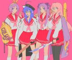 4girls :o ahoge artist_name baseball_bat fingerless_gloves glasses gloves hiiragi_kagami hiiragi_tsukasa izumi_konata katana lucky_star multiple_girls school_uniform serafuku sword vacuumchan weapon