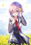 1girl :d bangs black-framed_eyewear black_dress blue_sky blush breasts clouds collarbone collared_dress day dress eyebrows_visible_through_hair fate/grand_order fate_(series) field flower flower_field gejigejier glasses grey_hoodie hair_flower hair_ornament hair_over_one_eye highres hood hood_down hoodie looking_at_viewer mash_kyrielight medium_breasts necktie open_clothes open_hoodie open_mouth outdoors petals pink_hair pleated_dress red_neckwear red_string sky smile solo string violet_eyes yellow_flower