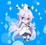 1girl absurdly_long_hair animal animal_on_head bangs black_legwear black_neckwear blue_eyes blue_skirt blush breasts cat cat_on_head chibi closed_mouth commentary_request eyebrows_visible_through_hair hair_between_eyes kneehighs kneehighs_pull long_hair long_sleeves looking_at_viewer medium_breasts milkpanda navel necktie no_shoes on_head original purple_hair shirt skirt sleeves_past_fingers sleeves_past_wrists solo sparkle very_long_hair white_shirt