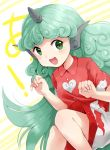 1girl :d blush curly_hair eyebrows_visible_through_hair feet_out_of_frame green_eyes green_hair hands_up highres horn kanonari kariyushi_shirt knees_together komano_aun long_hair looking_at_viewer open_mouth paw_pose red_shirt shirt short_sleeves shorts simple_background sitting smile solo striped striped_background touhou very_long_hair white_background wing_collar