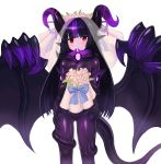 1girl absurdres bangs black_hair blunt_bangs blush bouquet bridal_veil commentary commission demon_girl english_commentary flower gluteal_fold highres horns long_hair looking_at_viewer monster_girl monster_girl_encyclopedia multicolored_hair night_gaunt_(monster_girl_encyclopedia) pointy_ears purple_hair red_eyes simple_background solo sookmo streaked_hair tail two-tone_hair veil white_background wings