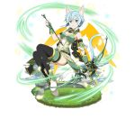 1girl animal_ears arm_strap armlet arrow black_legwear black_ribbon blue_eyes blue_hair bow_(weapon) breasts cat_ears cat_tail cleavage covered_navel faux_figurine fingerless_gloves full_body gloves green_gloves hair_between_eyes hair_ribbon holding holding_arrow holding_bow_(weapon) holding_weapon looking_at_viewer medium_breasts multiple_wings parted_lips ribbon scarf shinon_(sao-alo) short_hair_with_long_locks short_shorts shorts sidelocks simple_background solo sword_art_online tail thigh-highs thighlet weapon white_background wings yellow_wings