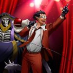 2boys :d ainz_ooal_gown arm_up belt black_gloves black_hair cowboy_shot crossed_arms demiurge dress_shirt glasses gloves grey_shirt holding holding_microphone index_finger_raised jacket k-ta microphone multiple_boys necktie open_mouth overlord_(maruyama) pants pointy_ears red_eyes red_jacket red_neckwear red_pants shirt skeleton smile stage standing vertical-striped_jacket