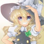 1girl :d arm_up bent_elbow black_eyes black_hat black_vest blonde_hair bow braid buttons collared_shirt commentary_request eyebrows_visible_through_hair eyes_visible_through_hair fingernails frilled_bow frilled_shirt_collar frills gradient gradient_background green_ribbon grin hair_ribbon hand_on_headwear hat hat_bow highres ijoan kirisame_marisa long_hair looking_at_viewer nose open_mouth parted_lips ribbon shirt side_braid single_braid smile solo tan_background touhou upper_body vest white_background white_bow white_shirt witch_hat