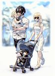 2boys 2girls :< baby black_hair blonde_hair blurry braid carrying depth_of_field family final_fantasy final_fantasy_xv good_end isakawa_megumi kenny_crow lunafreya_nox_fleuret multiple_boys multiple_girls noctis_lucis_caelum sandals short_hair side_braid smile stroller sunglasses toy walking