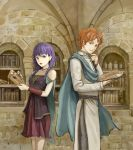 1boy 1girl absurdres artur book braid fire_emblem fire_emblem:_seima_no_kouseki highres holding holding_book looking_at_viewer lute_(fire_emblem) orange_eyes orange_hair purple_hair reading scarf smile violet_eyes