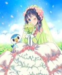 1girl blue_eyes blue_hair bouquet bridal_veil commentary_request dress elbow_gloves flower frilled_dress frills gloves hair_flower hair_ornament hikari_(pokemon) looking_at_viewer one_eye_closed petals piplup pokemon pokemon_(anime) sasairebun short_hair solo veil wedding_dress
