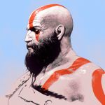 1boy bald beard bodypaint facial_hair god_of_war gradient gradient_background ilya_kuvshinov kratos male_focus pale_skin profile solo tattoo upper_body