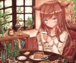 1girl :3 animal_ears bangs blunt_bangs blush book bookshelf cake cat_ears cat_tail chair clock coffee_mug collarbone creamer_(vessel) cup day desk_lamp eyebrows_visible_through_hair file_cabinet food fork holding holding_cup indoors kyuumoto_kuku lamp long_hair long_sleeves looking_at_viewer menu mug original plant plate potted_plant redhead restaurant signature silver_hair sitting slit_pupils solo spoon sweater table tail test_tube white_sweater window