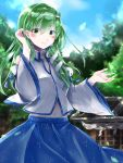 1girl aroma42enola blush clouds collar detached_sleeves frog green_eyes green_hair hair_ornaments hair_tube kochiya_sanae leaves midriff miko navel nontraditional_miko shrine skirt sky smile snake touhou trees
