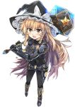 1girl :d alternate_costume bangs bent_elbow black_bodysuit black_hat blonde_hair bodysuit bow braid commentary_request covered_navel e.o. eyebrows_visible_through_hair foreshortening full_body hammer hat hat_bow highres holding holding_hammer kirisame_marisa legs_apart light_blush long_hair looking_at_viewer open_mouth power_suit raised_eyebrows side_braid simple_background single_braid smile solo standing star touhou white_background white_bow witch_hat yellow_eyes