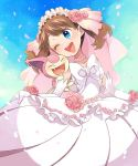 1girl :d blue_eyes blush bridal_vail bridal_veil brown_hair commentary_request dress elbow_gloves flower flower_necklace gen_3_pokemon gloves haruka_(pokemon) head_tilt jewelry necklace one_eye_closed open_mouth petals pink_flower pink_rose pink_wedding_dress pokemon pokemon_(anime) rose sasairebun short_hair skitty smile solo veil wedding_dress