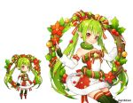 1girl aki_no_jikan arms_at_sides bare_shoulders bow detached_sleeves earrings elf flower green_hair green_legwear hair_ornament hair_rings holly jewelry long_hair looking_at_viewer maru-kichi multiple_views official_art poinsettia pointy_ears red_bow red_eyes sitting skirt standing star star_hair_ornament striped striped_skirt thigh-highs twintails watermark wreath