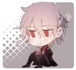 1boy antonio_salieri_(fate/grand_order) blush chibi eating fate/grand_order fate_(series) food formal grey_hair hair_between_eyes holding holding_spoon long_sleeves pants pudding red_eyes silver_hair sitting striped striped_jacket striped_pants suit