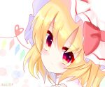 1girl blonde_hair blush bow bubble_background closed_mouth collared_shirt commentary_request eyebrows_visible_through_hair face flandre_scarlet from_behind gem gradient_eyes hair_between_eyes hat hat_bow head_tilt heart heart_of_string highres kkk_(user_hdee2744) light_smile looking_at_viewer mob_cap multicolored multicolored_eyes portrait red_bow red_eyes shirt short_hair side_ponytail solo touhou translation_request white_background white_hat yellow_eyes