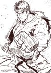 >:( 1boy asutora bandage bandaged_hands belt clenched_hands closed_mouth commentary_request cowboy_shot fighting_stance fingerless_gloves foreshortening frown gloves greyscale headband highres looking_at_viewer male_focus monochrome muscle ryuu_(street_fighter) simple_background sketch sleeveless solo standing street_fighter torn_clothes white_background