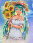 1girl :d absurdres blue_sky bow clouds collar collarbone cowboy_shot day detached_sleeves dress eyebrows_visible_through_hair flower green_eyes green_hair grin hair_between_eyes hair_bow hat hat_flower hat_ribbon hatsune_miku highres holding holding_flower long_hair looking_at_viewer mayo_riyo open_mouth outdoors ribbon ribbon-trimmed_dress ribbon-trimmed_sleeves ribbon_trim sky sleeveless sleeveless_dress smile solo standing strapless strapless_dress straw_hat sundress sunflower tan tanline twintails very_long_hair vocaloid white_bow white_dress yellow_flower yellow_hat