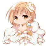 1girl bangs blush breasts brown_eyes chibi cleavage closed_mouth commentary_request cosplay djeeta_(granblue_fantasy) dress eyebrows_visible_through_hair flower granblue_fantasy hair_between_eyes hair_flower hair_ornament highres large_breasts light_brown_hair looking_at_viewer mofuaki rose simple_background smile solo strapless strapless_dress the_glory the_glory_(cosplay) thigh-highs white_background white_dress white_flower white_legwear white_rose