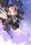 1girl absurdres armband azur_lane balkenkreuz bangs bare_legs barefoot black_skirt breasts brown_gloves cannon character_name closed_mouth commentary_request corset cross crossover english flag_print foreshortening from_above gloves green_eyes gun headgear highres large_breasts long_sleeves looking_at_viewer looking_up machinery metal_gloves miniskirt name_tag norwegian_flag pleated_skirt roon_(azur_lane) shiny shiny_hair signature skirt smile torpedo_tubes turret water weapon wing_collar