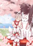 1girl amaterasu animal animal_ears bangs bare_shoulders blush bodypaint cherry_blossoms closed_eyes commentary crossover detached_sleeves earrings feet_out_of_frame fox_ears fox_mask fox_tail grass grey_hair idolmaster idolmaster_cinderella_girls jewelry jiino mask ookami_(game) parted_bangs petals shiomi_shuuko short_hair sitting smile tail tree water white_legwear wolf