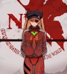 1girl animal_ears animal_hat badge bangs black_hat blue_eyes bodysuit bodysuit_under_clothes breasts breasts_apart button_badge cabbie_hat closed_mouth commentary cowboy_shot english evangelion:_3.0_you_can_(not)_redo eyebrows_visible_through_hair eyepatch fake_animal_ears frown gluteal_fold hair_between_eyes hands_in_pockets hat hat_ornament hat_pin highres hona_(pixiv7939518) honeycomb_(pattern) jacket long_hair long_sleeves looking_at_viewer medium_breasts neon_genesis_evangelion nerv number one_eye_covered open_clothes open_jacket orange_hair parted_bangs pilot_suit plugsuit pocket rebuild_of_evangelion red_bodysuit red_jacket shaded_face single_vertical_stripe solo souryuu_asuka_langley standing straight_hair tape turtleneck two_side_up unzipped v-shaped_eyebrows zipper zipper_pull_tab
