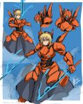 1girl blonde_hair byboss crossover dual_wielding energy_sword fate/stay_night fate_(series) green_eyes highres mecha mecha_musume namesake pacific_rim:_uprising saber_(fate/prototype) saber_athena short_hair sword weapon