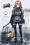1girl black_gloves black_legwear blue_eyes blush cable closed_mouth commentary_request gloves grey_background grey_shirt highres holding holding_sword holding_weapon inabi jacket leg_belt light_brown_hair long_hair long_sleeves looking_at_viewer low_twintails original robot shirt smile solo standing sword thigh-highs twintails weapon