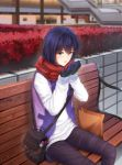 1girl bag baiyin black_gloves black_pants blue_eyes blue_hair blurry blurry_background day gloves hair_between_eyes handbag hands_up highres jacket looking_at_viewer open_mouth original outdoors pants paper_bag red_scarf scarf scenery short_hair sitting_on_bench upper_body