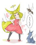 1girl :3 absurdres animal_ears bird black_legwear blonde_hair blush commentary_request doitsuken dress extra_ears eyebrows_visible_through_hair fake_halo fang_out fox_ears fox_tail halo hands_on_hips head_tilt highres original pantyhose penguin red_dress rhinoceros_beetle short_hair smile standing tail translation_request wings