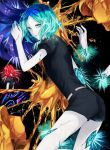 2others amputee androgynous bangs black_background black_neckwear blue_hair cracked disembodied_limb facing_away gem_uniform_(houseki_no_kuni) green_eyes green_hair highres houseki_no_kuni looking_at_viewer mm0905 multicolored_hair necktie open_mouth phosphophyllite redhead shinsha_(houseki_no_kuni) short_hair short_sleeves shorts uniform