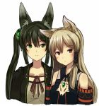 2girls animal_ears bangs bare_shoulders blonde_hair blush brown_eyes closed_mouth commentary_request detached_sleeves eyebrows_visible_through_hair fox_ears green_eyes green_hair hair_tubes inabi long_sleeves looking_at_viewer multiple_girls neck_ribbon original red_neckwear red_ribbon ribbon simple_background smile twintails white_background