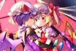 2girls ascot bat_wings blonde_hair blue_hair bow curtains flandre_scarlet gamathx hat hat_bow indoors looking_at_viewer mob_cap multiple_girls puffy_short_sleeves puffy_sleeves red_bow red_eyes remilia_scarlet short_hair short_sleeves siblings sisters touhou upper_body vest white_hat white_neckwear wind window wings