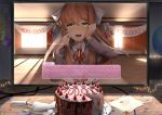 1girl 2d_dating :d backlighting balloon bangs blazer blush bow breasts brown_hair cake cake_slicer calendar classroom collared_shirt commentary computer confetti crying crying_with_eyes_open curtains desk dialogue_box doki_doki_literature_club elbow_rest elbows_on_table english english_commentary eyebrows_visible_through_hair food fork fruit green_eyes grey_jacket hair_bow hand_on_own_cheek hand_on_own_face hands_up happy happy_tears heart highres hits holding holding_fork indoors jacket lens_flare light_particles light_rays lonely long_hair long_sleeves looking_at_viewer medium_breasts monika_(doki_doki_literature_club) monitor neck_ribbon nose_blush open_mouth paper plate ponytail red_neckwear red_ribbon ribbon round_teeth sasoura school_uniform shirt sidelocks sitting slice_of_cake smile solo spoilers strawberry sunbeam sunlight table tears teeth white_shirt window wiping_tears