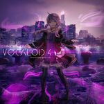 1girl :d ahoge boots building character_name cityscape commentary_request copyright_name criss-cross_halter dress hair_ornament halter_dress halterneck inabi jacket long_hair looking_at_viewer microphone open_clothes open_jacket open_mouth pigeon-toed purple purple_dress purple_hair short_dress skyscraper smile smoke solo standing thigh-highs thigh_boots violet_eyes vocaloid voiceroid yuzuki_yukari