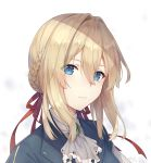 1girl ayuanlv bangs blonde_hair blue_eyes blue_jacket braid braided_bun brooch close-up dress face hair_between_eyes hair_intakes hair_ribbon highres jacket jewelry long_sleeves looking_at_viewer red_ribbon ribbon solo violet_evergarden violet_evergarden_(character)
