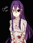 1girl black_background blood blood_on_face bloody_clothes breasts doki_doki_literature_club english flow_ech hair_ornament hairclip injury long_hair looking_at_viewer medium_breasts missing_eye one_eye_closed purple_hair ribbed_sweater simple_background slit_wrist solo sweater texture torn_clothes torn_sweater upper_body very_long_hair violet_eyes yuri_(doki_doki_literature_club)