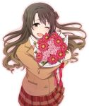 1girl blazer blush bouquet brown_eyes brown_hair curly_hair flower half_updo holding holding_bouquet idolmaster idolmaster_cinderella_girls jacket long_hair mattaku_mousuke one_eye_closed one_side_up open_mouth pleated_skirt red_ribbon ribbon rose shimamura_uzuki simple_background skirt smile solo white_background