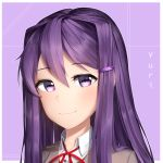 1girl character_name commentary doki_doki_literature_club english_commentary eyebrows_visible_through_hair hair_between_eyes hair_ornament hairclip long_hair looking_at_viewer outline portrait purple_background purple_hair sasoura signature simple_background smile solo violet_eyes white_outline yuri_(doki_doki_literature_club)